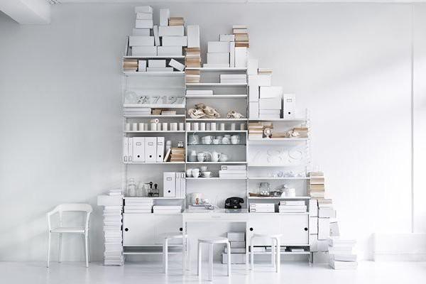 String Furniture Reol - gulvgavle med hylder og skrivebord / shelving unit