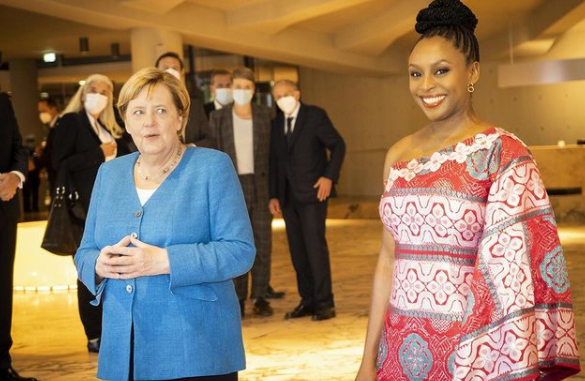 German Chancellor, Angela Merkel explains why Siemens electricity deal with Nigeria is yet to take off after being questioned by Chiamanda Adichie (video)