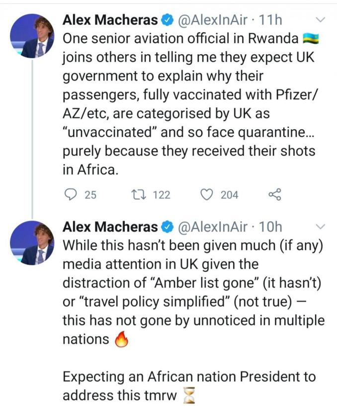 Persons vaccinated in Africa, India, UAE are considered unvaccinated - UK government reveals in latest travel policy
