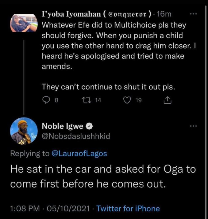 Noble Igwe explains why organizers of BBNaija allegedly blacklisted Efe after he won the reality show