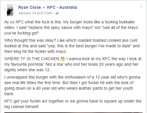 KFC Australia Bukkake Burger rant by Ryan Close goes Viral