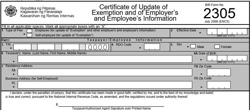 Revised BIR Form No. 2305 (Certificate of Update of ...