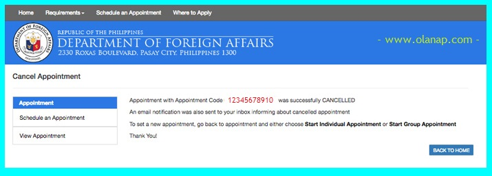 how to cancel your dfa appointment for your passport