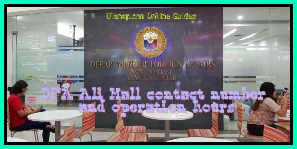 DFA Ali Mall contact number and operation hours