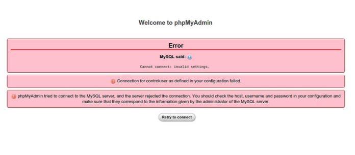 phpMyAdmin MySQL sunucusuna bağlanmayı denedi ama sunucu bağlantıyı reddetti