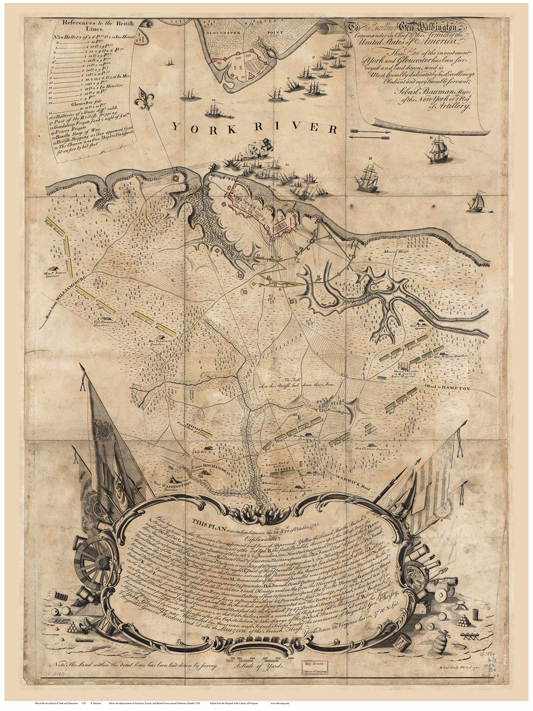 Revolutionary War Map Of The Battle Of Yorktown Virginia