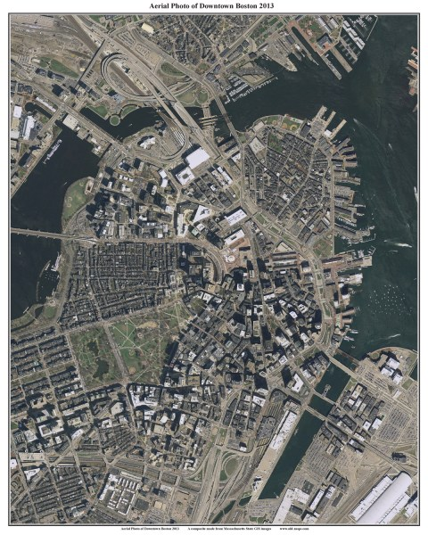 2013 Aerial Maps of Boston  Massachusetts 36 x45   50  Boston   Charles River orig  24 x 30 16 x20   20 24 x30   30  36 x45   50