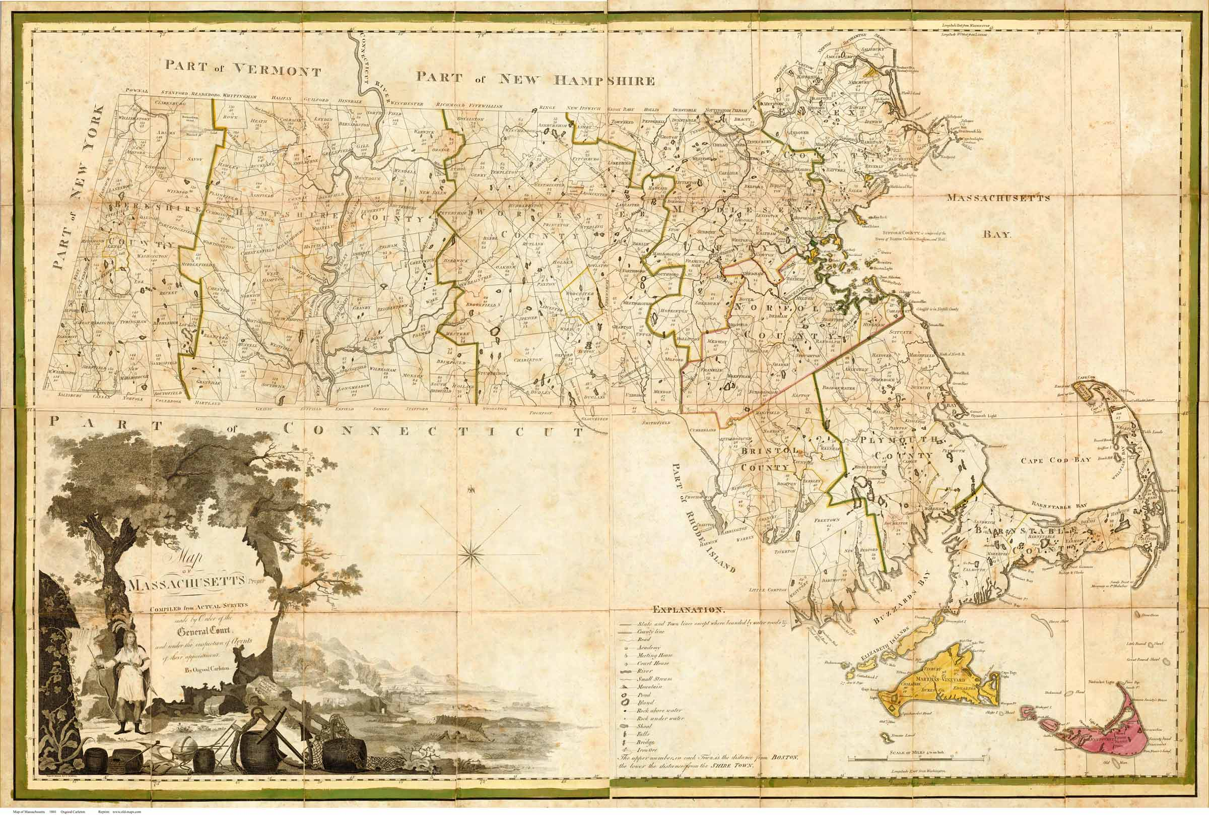 Prints of Old Massachusetts State Maps 1801 Carleton   Full State Map see separate page