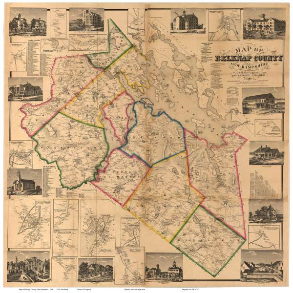 Old Maps of Belknap County  NH Maps Old Map of Belknap Co NH  1860 Wall Map