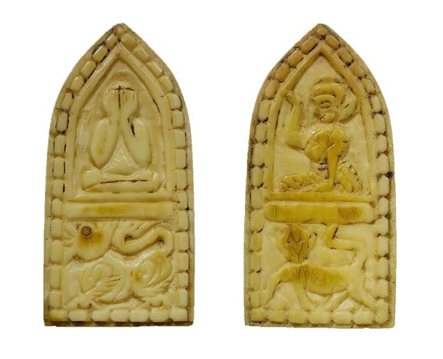 Tiger Pidta Singha Hanuman 4 in One carved ivory votive tablet