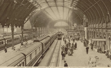 The crowded platform at Paddington Station, built 1854.