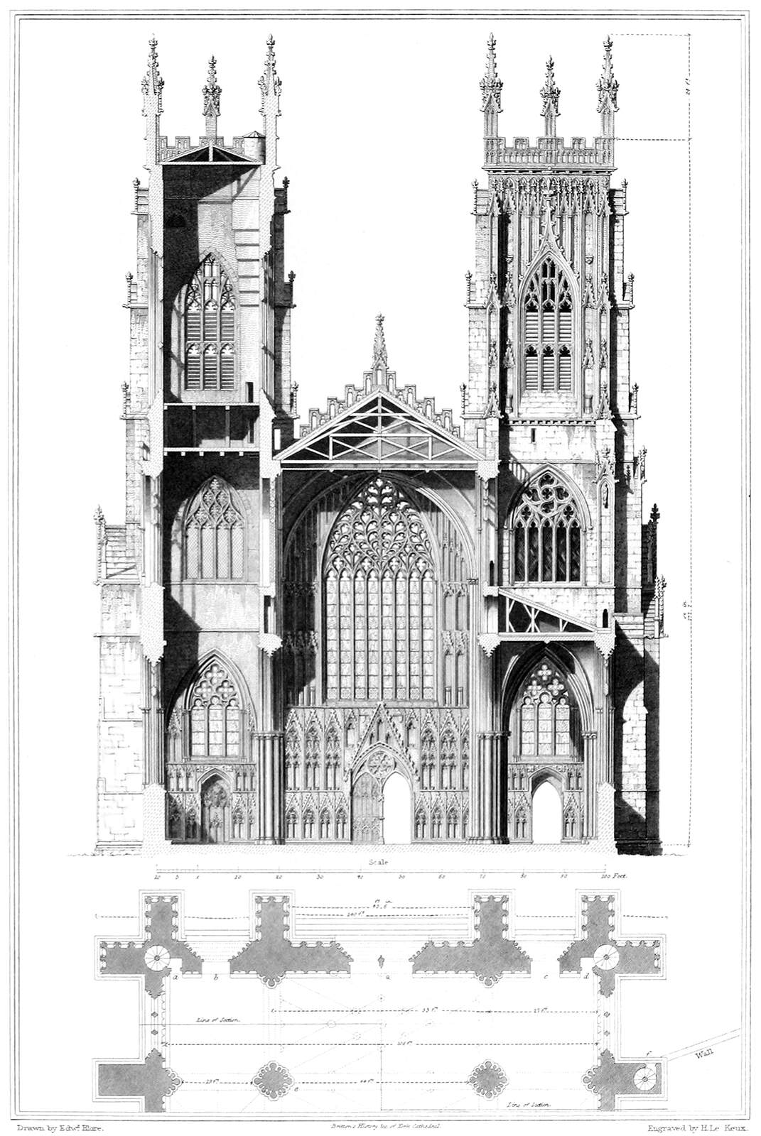 York Cathedral Elevation And Section Old Book Illustrations