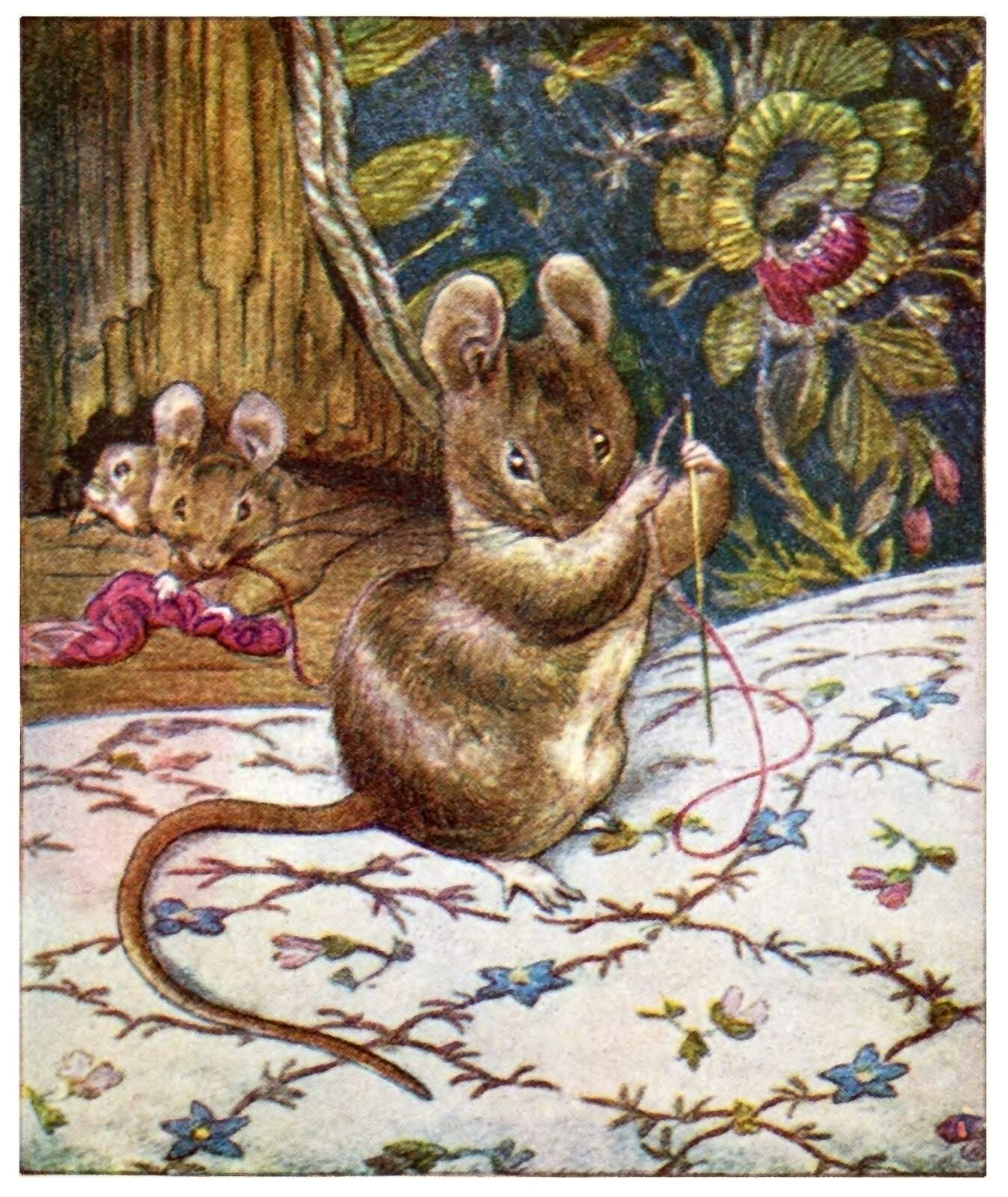 Mouse With Sewing Needle Old Book Illustrations