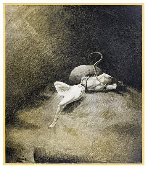 A wounded woman lies on her back on a barren rock in the grip of a tentacled monster