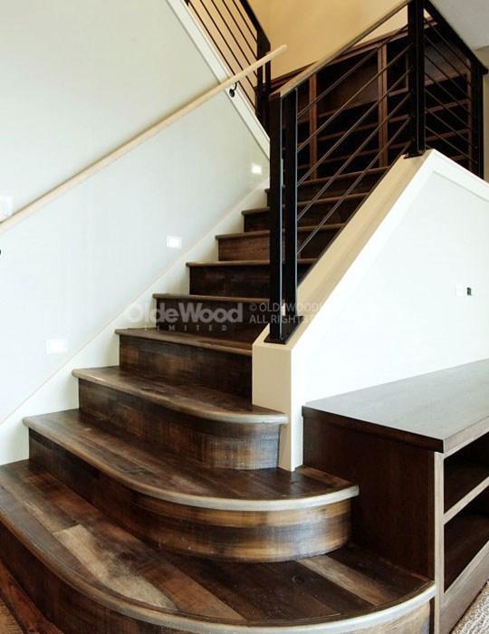 Reclaimed Wood Stair Parts Reclaimed Stair Treads Olde Wood | Rustic Wood Stair Treads | Indoor Stair | Wood Plank | Interior | Reclaimed Wood | Carpet