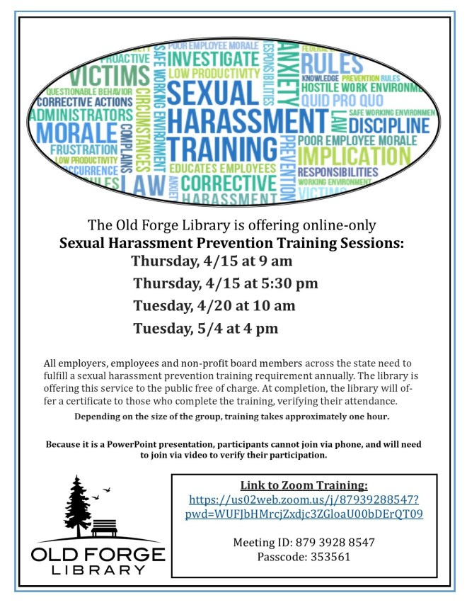 Sexual Harassment Prevention Training ~ On Zoom