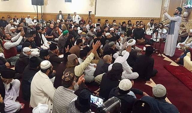 Pakistani clerics who praised an Islamist assassin in Pakistan speaking at a mosque in Oldham. Pictured is Hassan Haseeb ur Rehman
