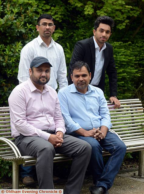 Pride in Oldham nominees, the Ahmadiyya Muslim Youth Association. Standing, Ahmad Mustafa (left) and Zakiullah. Seated, Laiq Khan (left) and Ahsan Ahmed