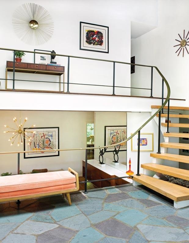 A Mid Century Modern Marvel In Delaware Old House Journal Magazine | Mid Century Modern Handrail | Cantilevered Spiral Stair | Art Deco | Modern Walnut | Tree Branch | Railing