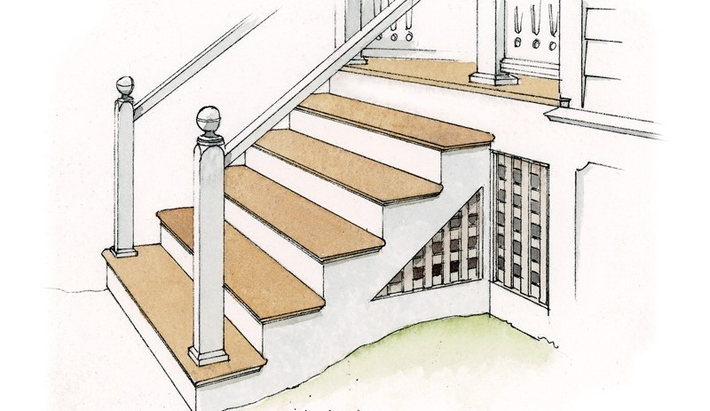 How To Repair Old Porches Old House Journal Magazine | Repairing Outdoor Wooden Steps | Staircase | Patio | Concrete Slab | Front Porch | Stringer