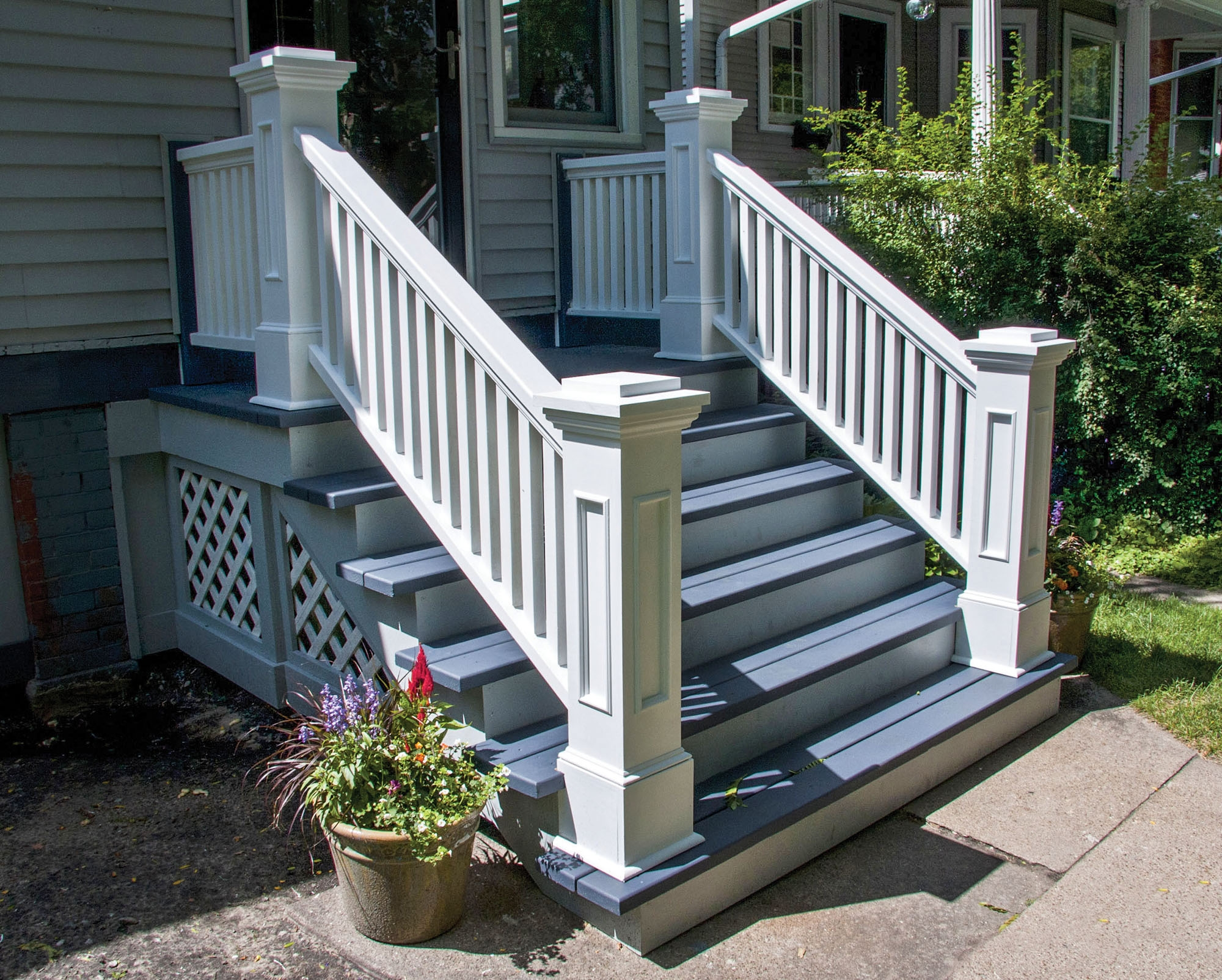 Graceful Stoops Entry Steps Old House Journal Magazine   Premade Steps For Outside   Handrail   Wood   Stair Railing   Deck   Wooden
