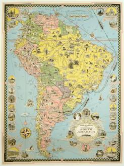 Moore McCormack Lines Pictorial Map of South America   SOUTH AMERICA Moore McCormack Lines Pictorial Map of South America  SOUTH AMERICA