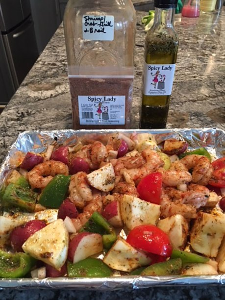 Spicy Lady Shrimp Grill & Broil Seasoning and Rosemary Basil Oregano Olive Oil   Old Metairie Garden Club