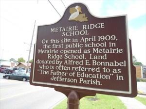 Old Metairie School Marker | Old Metairie Garden Club