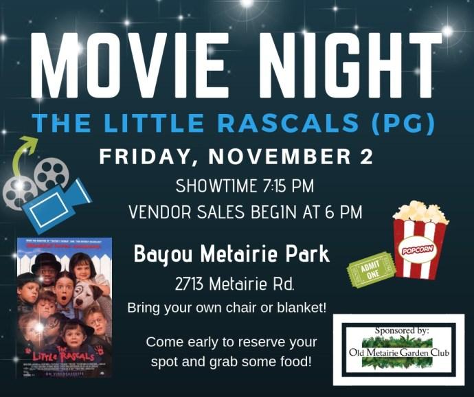 Movie Night November 2nd | Old Metairie Garden Club