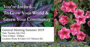 Old Metairie Garden Club Meeting Flyer Summer 2019