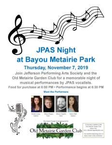 Jefferson Performing Arts Society Night | Old Metairie Garden Club