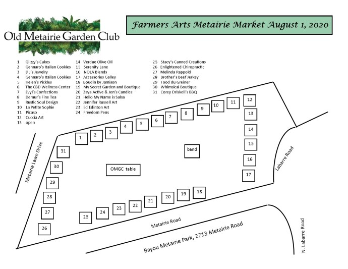 Farmwrs Arts Metairie Market 8-2020 Map | Old Metairie Garden Club