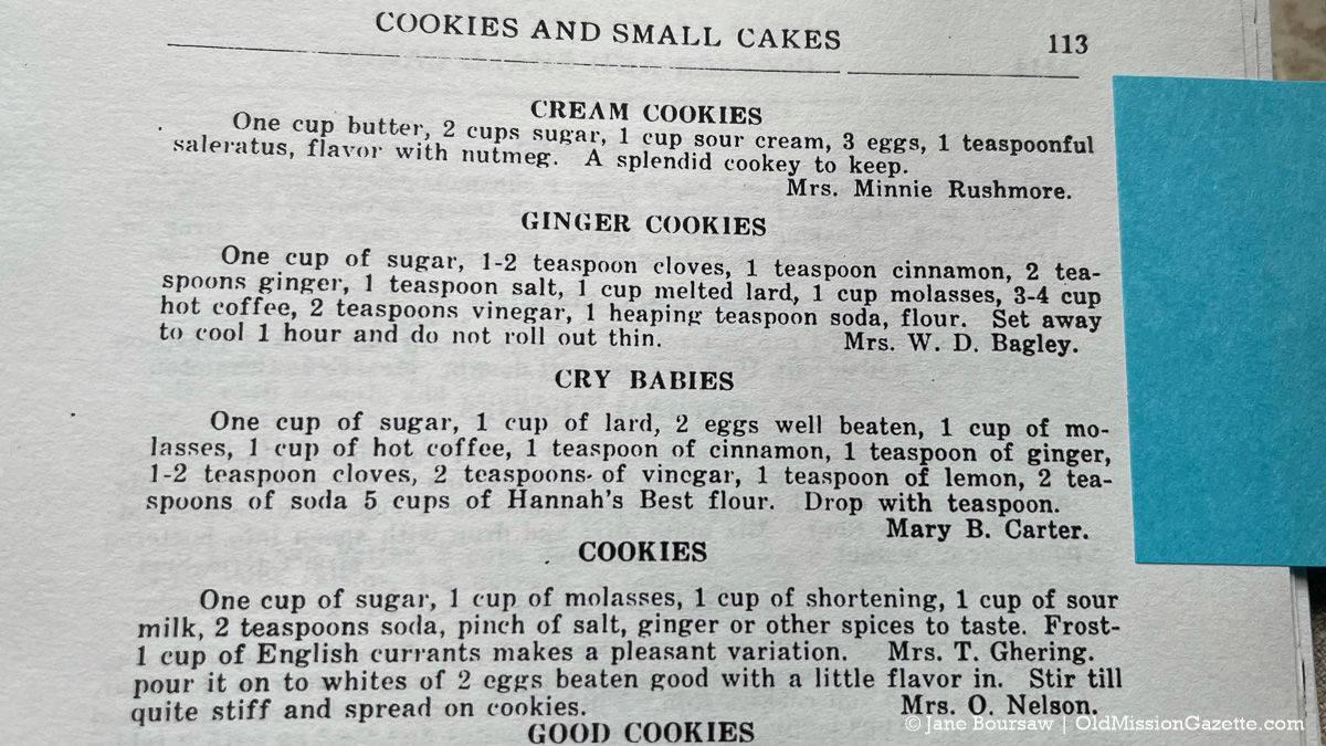 """Mary B. Carter's cookie recipe for Cry Babies; from """"The Old Mission Cook Book Compiled by The Ladies' Aid Society of the Congregational Church"""" 