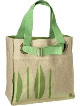 Women: Women's Graphic Linen-Blend Totes - Olive Butter