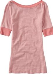 Women: Women's Long Boatneck Tees - Pink Stripe