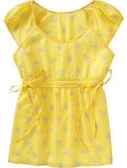 Women: Women's Printed Empire tall blouses - Yellow Print