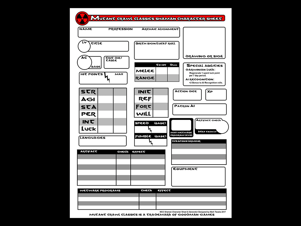 Mutant Crawl Classics Character Sheets