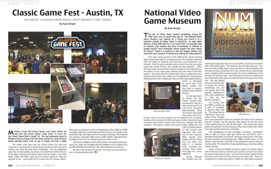 Classic Game Fest and the National Video Game Museum Coverage in Old School Gamer