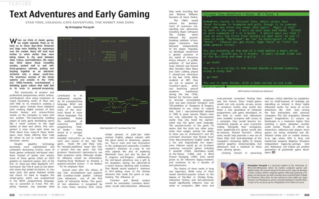 Text Adventures and Early Gaming – By Kristopher Purzycki