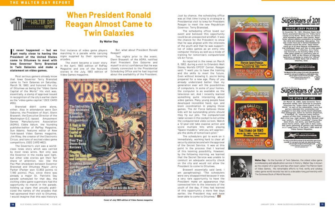 The Walter Day Report – When President Ronald Reagan Almost Came to Twin Galaxies