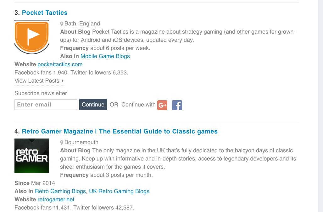 Old School Gamer listed as a Top 10 Gaming magazine