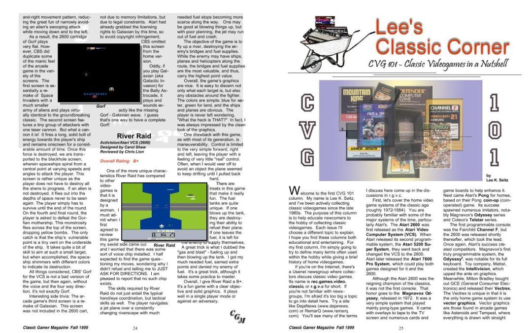 Lee's Classic Corner: CVG 101