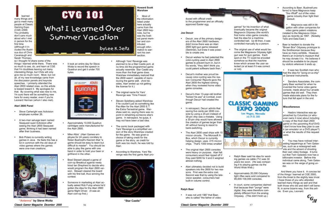 CVG 101: What I learned Over Summer Vacation