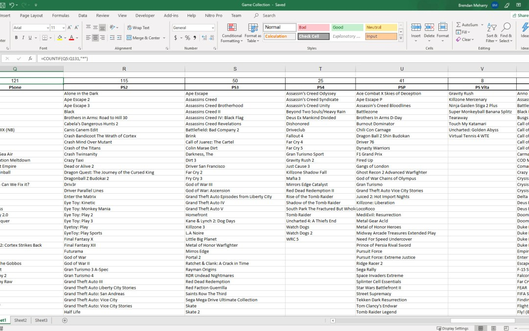 Tracking Your Game Collection with Excel and Dropbox: A Simple, but Practical Guide