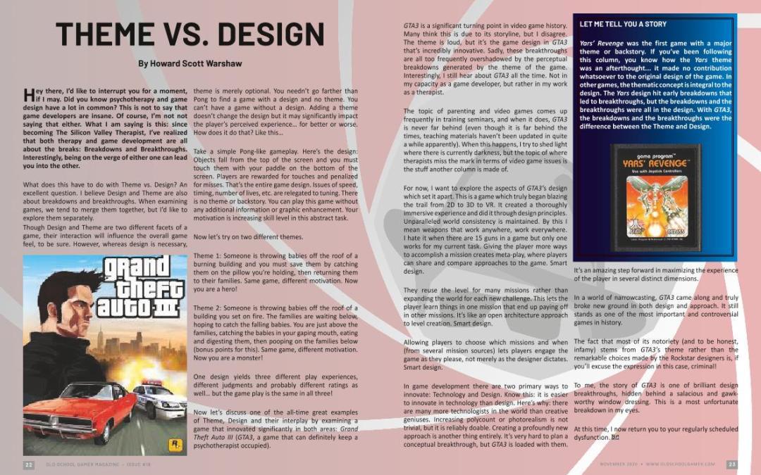Theme VS. Design – by Howard Scott Warshaw