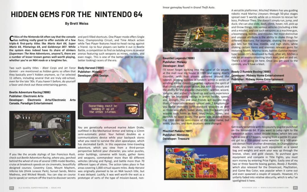 Hidden Gems for the Nintendo 64 – by Brett Weiss