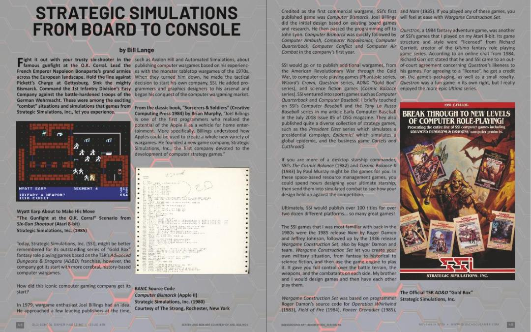 Strategic Simulations from Board to Console – by Bill Lange