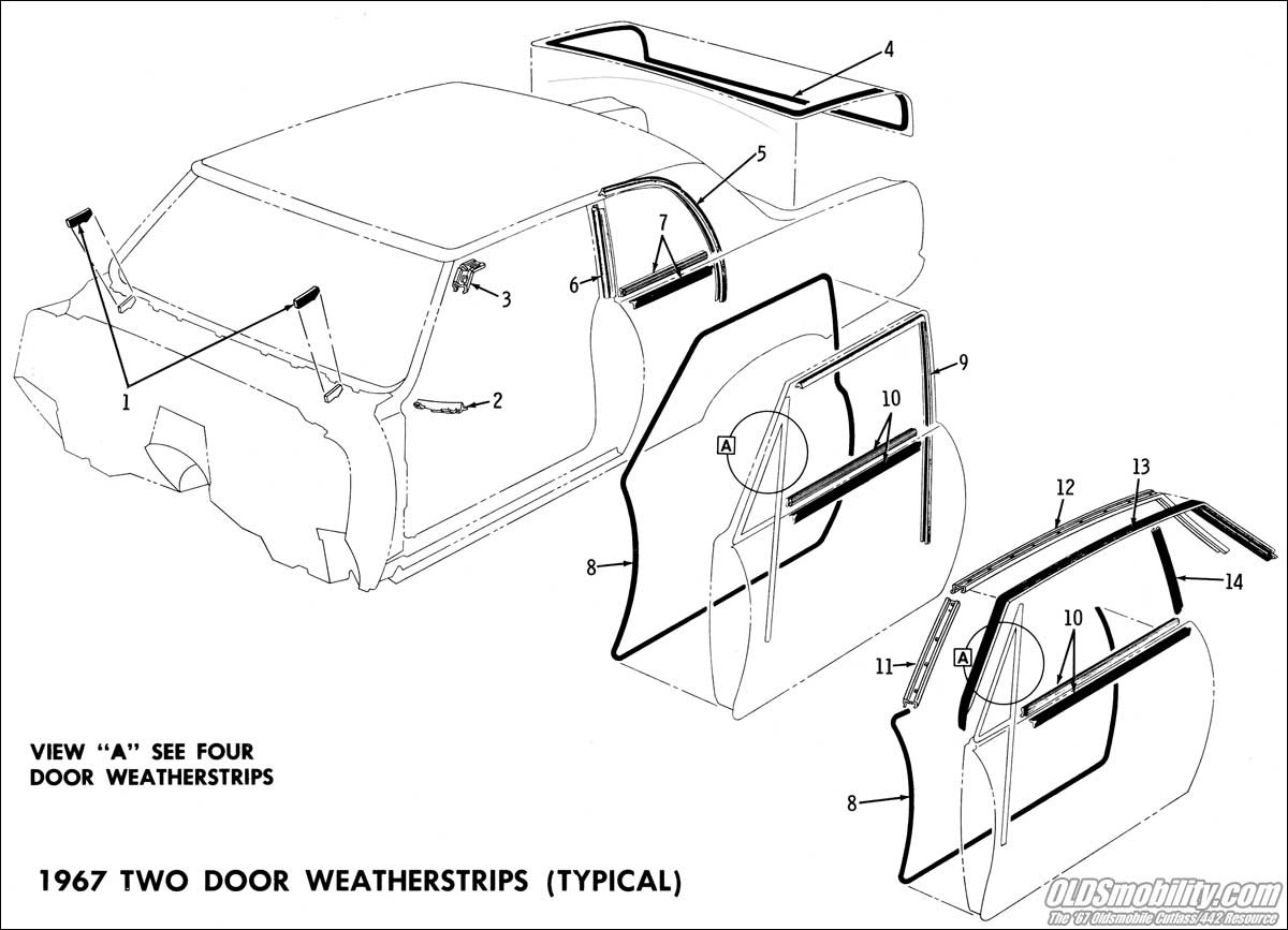 Convertible Top Roofrail Weather Strip Diagram
