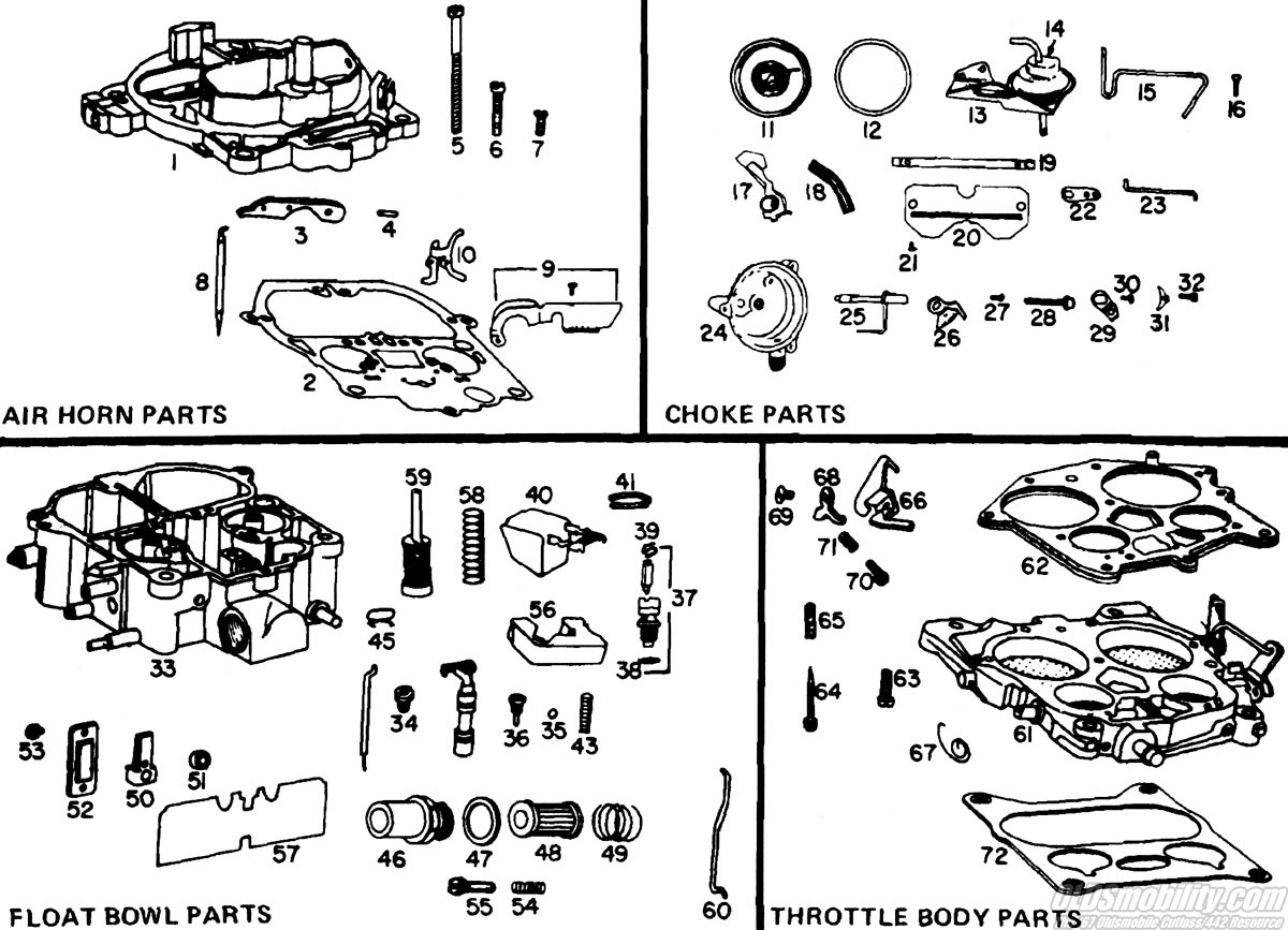 64 72 Canadian Oldsmobile F85 Master Parts Catalog