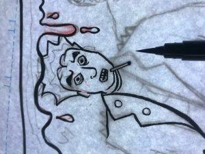 Entintado página de cómic. Creando un cómic autopublicado con Jota García.